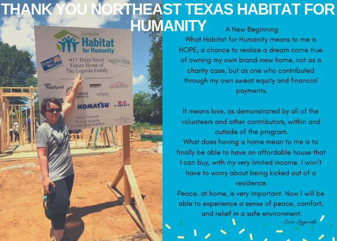 Eva-A New Beginning What Habitat for Humanity means to me